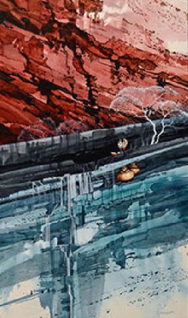 Agua Caminando Watercolor 43x18 Watercolor by Michael Atkinson