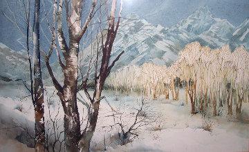 Winter Desert Landscape Watercolor 20x30 Watercolor by Michael Atkinson