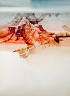 Untitled Landscape Watercolor 1990 39x29 Huge Watercolor - Michael Atkinson
