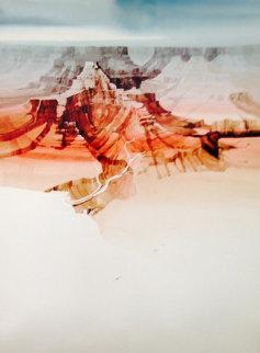 Untitled Landscape Watercolor 1990 39x29 Huge Watercolor - Michael Atkinson