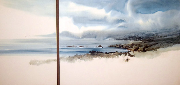 Point Sur Watercolor  1986 36x60 (Big Sur) California Watercolor by Michael Atkinson