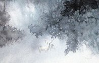 White Stag Watercolor 1998 30x40 Watercolor by Michael Atkinson - 1