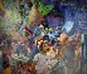 Jour Fe Fete 1977 72x52 Huge Original Painting - Daniel Authouart
