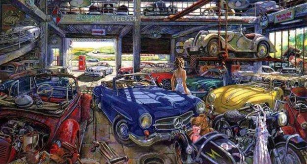German Garage II Limited Edition Print by Daniel Authouart