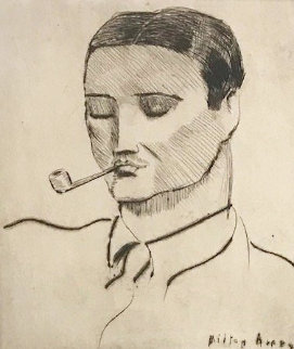 Man With Pipe, Portrait of Vincent Spagna the Artist 1938 Limited Edition Print - Milton Avery