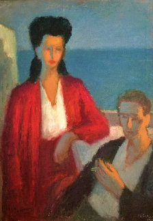 Untitled Portrait of a Couple 1957 42x31 Original Painting - Milton Avery