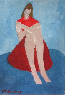 Portrait of a Crouched Woman 10x7 Original Painting - Milton Avery