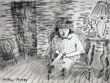 A Child Cutting 1936 Limited Edition Print - Milton Avery