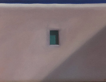 Mykonos Window 1992 17x22 Original Painting - John Axton
