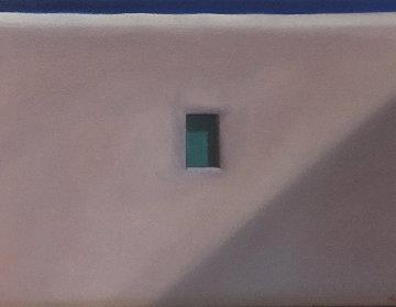 Mykonos Window 1992 17x22 Original Painting - John Axton