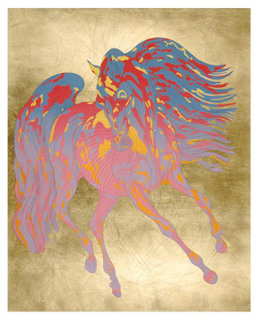 Duke, Le Cheval, Illustre  Gold Leaf  Series Limited Edition Print - Guillaume Azoulay