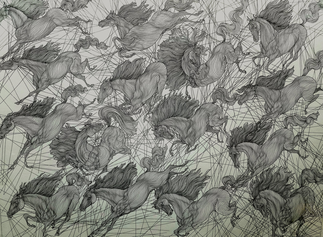 Esquisse Pour Bittan Quinze Chevaux Drawing 2005 26x31 Drawing by Guillaume Azoulay