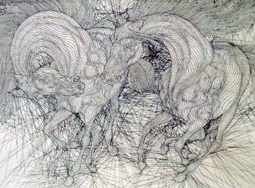 Maquette, Encounter Reprise 47x36 Drawing - Guillaume Azoulay