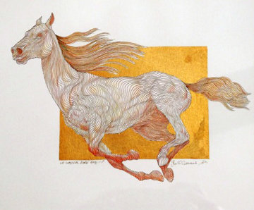 Le Cheval Dore 2008 16x17 Works on Paper (not prints) by Guillaume Azoulay
