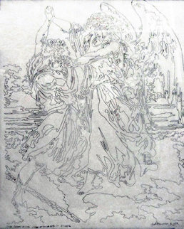 Etude Lineaire D. Dore l'Ange Et Jacob Drawing 1997 Etude C Drawing - Guillaume Azoulay