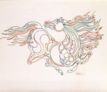 Horse Drawing 1994 14x17 Drawing - Guillaume Azoulay