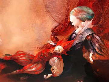 Le Silence Sur Tes Reves (The Silence of Your Dreams) 2001 40x63 Original Painting by Anne Bachelier