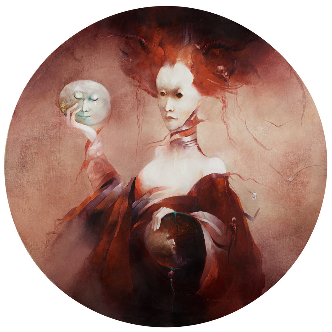 Judith 2001 43x43 Huge Original Painting by Anne Bachelier