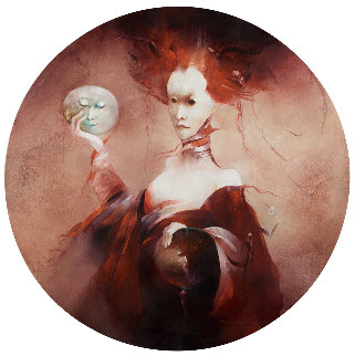 Judith 2001 43x43 Huge Original Painting - Anne Bachelier