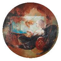 l'Ange Au Sablier 2004 43x43 Huge Original Painting by Anne Bachelier - 1