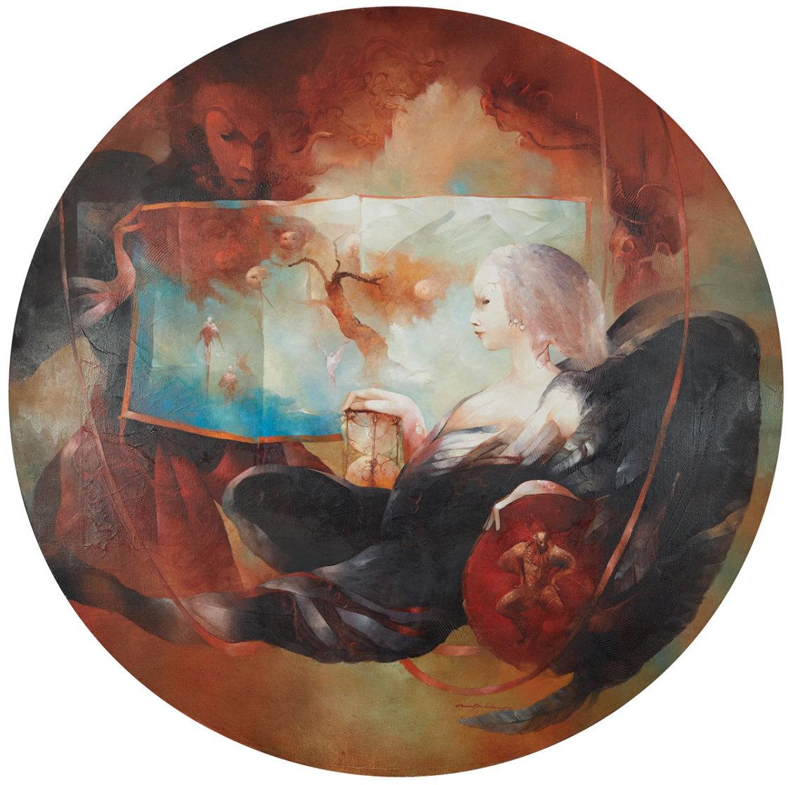l'Ange Au Sablier 2004 43x43 Huge Original Painting by Anne Bachelier