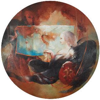 l'Ange Au Sablier 2004 43x43 Original Painting - Anne Bachelier