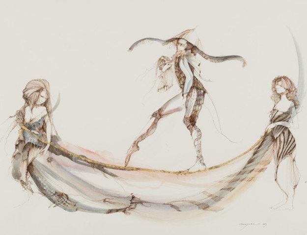 Promenade Sur Un Fil D'or 2003 30x37 Works on Paper (not prints) by Anne Bachelier