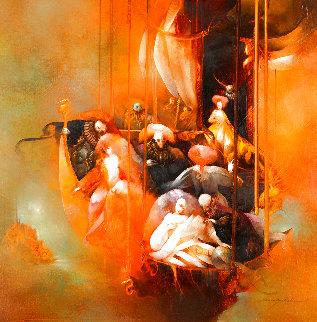 Quand Il Faudra Partir 2006 22x22 Original Painting - Anne Bachelier