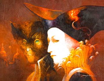 Le Temps S'arrete 2007 16x21 Original Painting - Anne Bachelier
