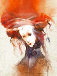 Untitled Painting (Refusee For Bachelier) 2001 11x14 Original Painting - Anne Bachelier