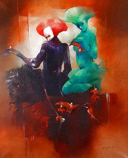 Pourquoi Desirez-Vous Les Deranger? 2001 43x36 Huge Original Painting - Anne Bachelier