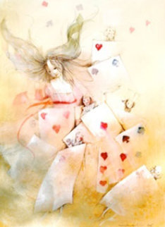 Alice with Cards 2005 12x9 Original Painting by Anne Bachelier
