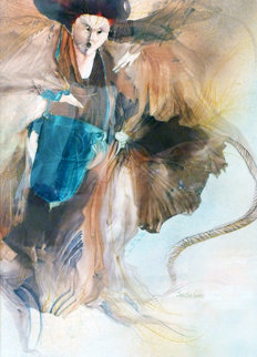 Untitled Watercolor 39x27 Original Painting by Anne Bachelier