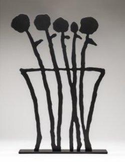 Black Flowers Sculpture 2019 26 in.  Sculpture by Donald Baechler