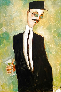 Man With Martini 1993 36x24 Original Painting - Clifford  Bailey