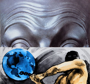 Eyebrows Furrowed Foreheads Figure With Globe 2009 Limited Edition Print by John Anthony Baldessari
