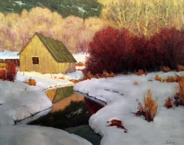 Winter Evening, Emma Creek - Basalt, CO 1996 49x42 Original Painting - David Ballew