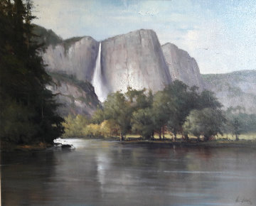 Yosemite Falls 2004 36x30 California Original Painting - Andre Balyon