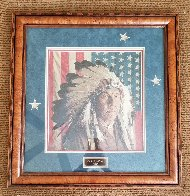 Chester Medicine Crow With His Father's Flag 1972 Limited Edition Print by James Bama - 1