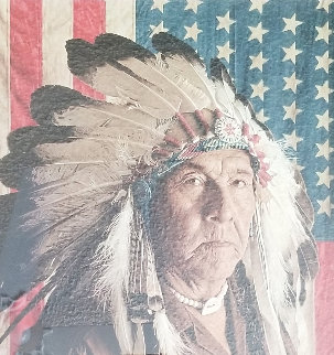 Chester Medicine Crow With His Father's Flag 1972 Limited Edition Print - James Bama