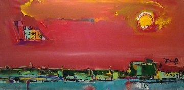 Banegas Abstract 2013 32x66 Huge Original Painting - David Banegas