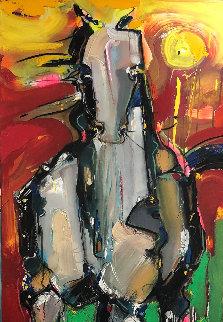 Picasso Horse 2012 32x84 Original Painting - David Banegas
