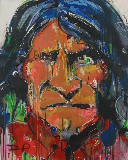 Geronimo 2012 45x36 Huge Original Painting - David Banegas