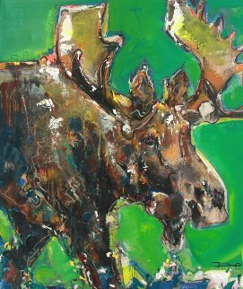 Moose 2012 51x45 Super Huge Original Painting - David Banegas