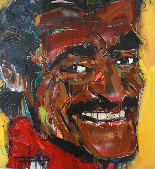 Sammy 2010 43x43 Original Painting by David Banegas