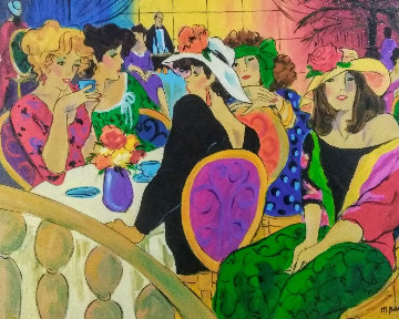 Brunch At the Plaza Watercolor 1974 28x32 Watercolor - Marcia Banks