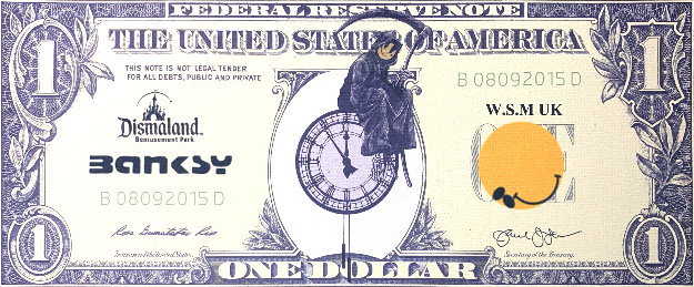 Dismal Dollar Unique 2015 5x11 Works on Paper (not prints) by  Banksy