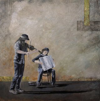 Street Musicians 2008 40x40 New Orleans Original Painting - Camille Barnes