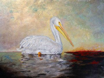 Pelican 2014 26x35 Original Painting - Camille Barnes