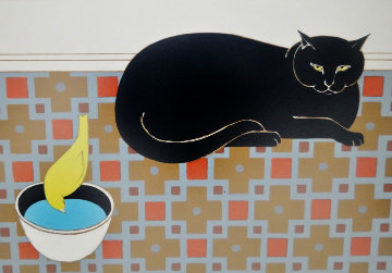 Cat And Canary 1980 Limited Edition Print by Will Barnet